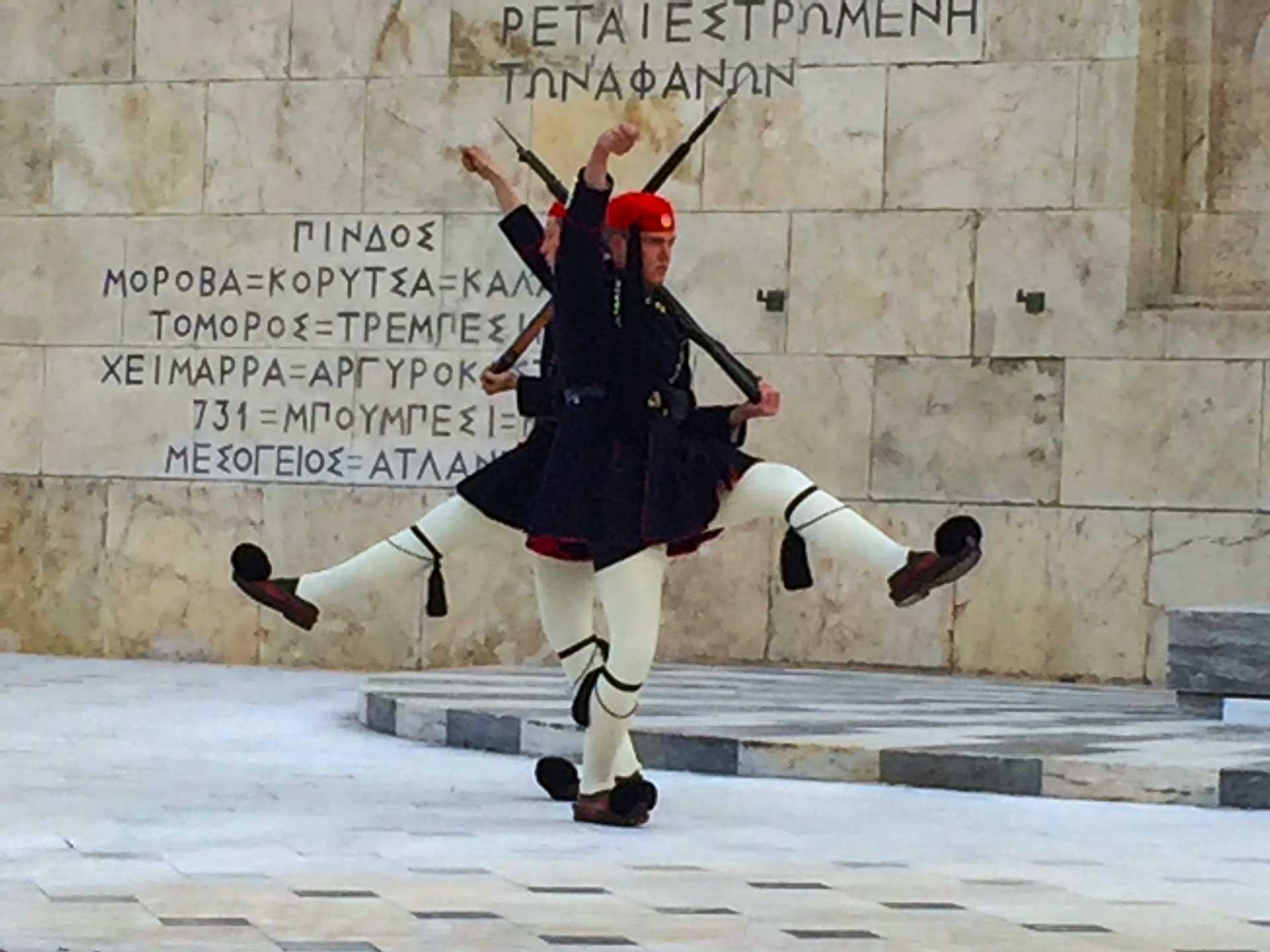Konferens i Aten Grekland med stadsrundtur och vaktombyte