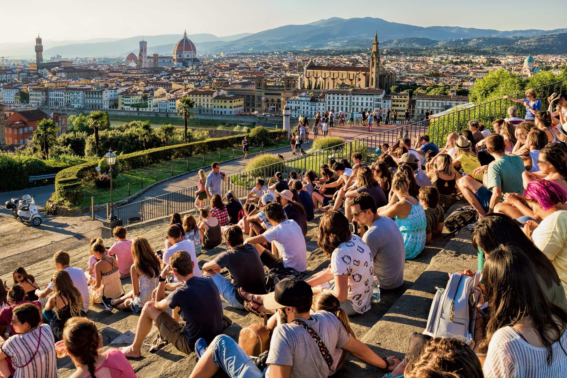 Möte på Piazzale Michelangelo Florens